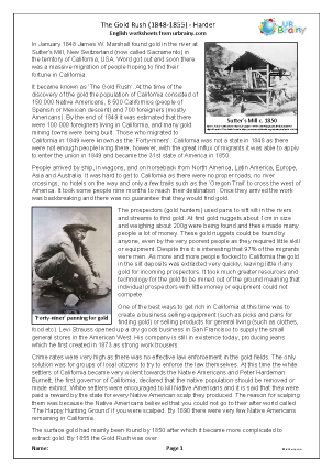 Preview of worksheet The Gold Rush (harder)