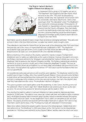 Preview of worksheet The Pilgrim Fathers (harder)