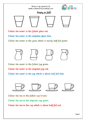 math worksheet : measure capacity 1 measurement maths worksheets for year 1 age 5 6  : Key Stage 1 Maths Worksheets Free Printable