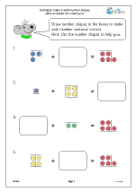 Adding to make 5 with number shapes