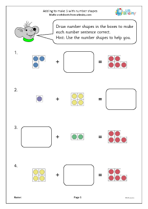 Preview of worksheet Adding to make 5 with number shapes