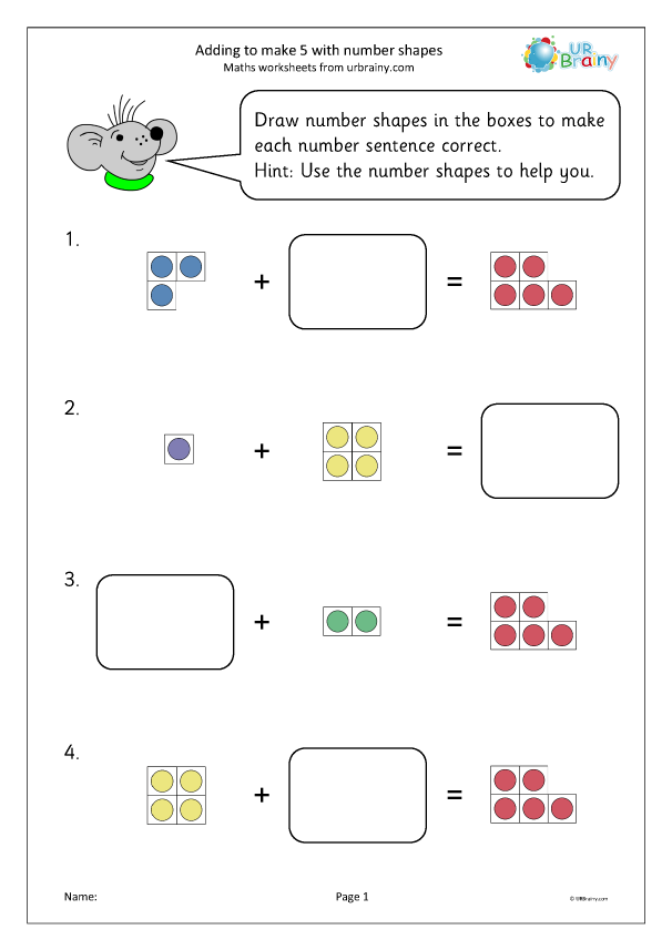 Preview of 'Adding to make 5 with number shapes'
