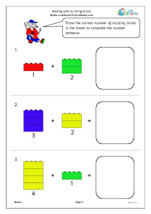 Preview of worksheet Adding with building bricks