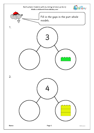 Preview of worksheet Part whole models with building bricks up to 5