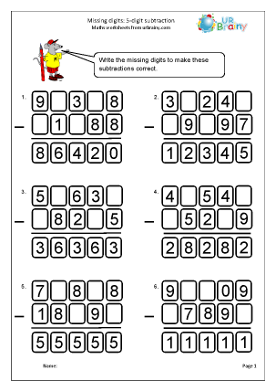 Preview of worksheet Missing digits: 5-digit subtraction