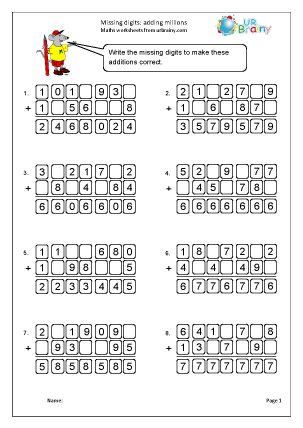 Preview of worksheet Missing digits: addition