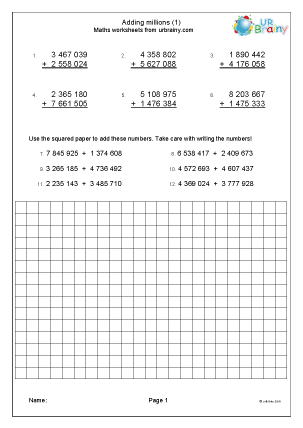 Preview of worksheet Adding millions (1)