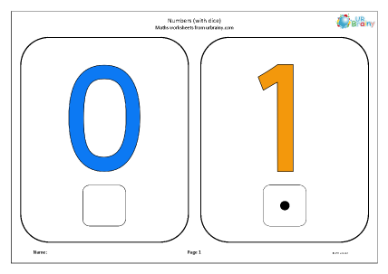 Preview of worksheet Numbers with dice