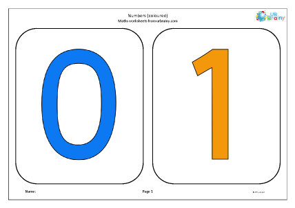 Preview of worksheet Numbers coloured