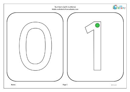 Preview of worksheet Numbers with buttons