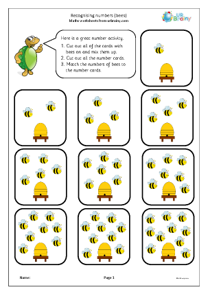 Preview of worksheet Recognising and matching numbers: bees