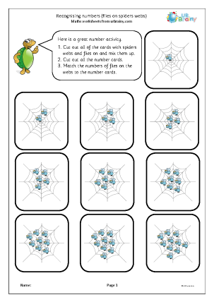 Preview of worksheet Recognising and matching numbers: flies on a web