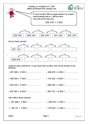 Preview of worksheet Adding multiples of one thousand by counting on