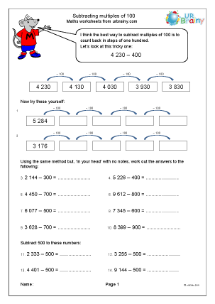 Preview of worksheet Subtract multiples of one hundred by counting back