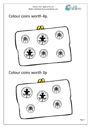 Preview of worksheet Colour the correct amounts