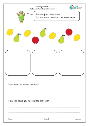 Preview of worksheet Sorting objects into groups (fruit)