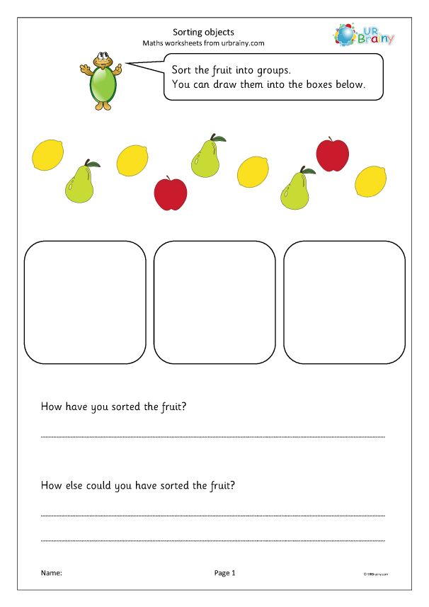 Preview of 'Sorting objects into groups (fruit)'
