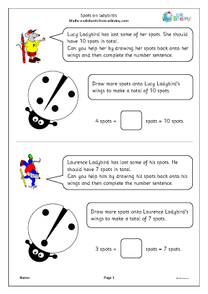 Preview of worksheet Spots on ladybirds