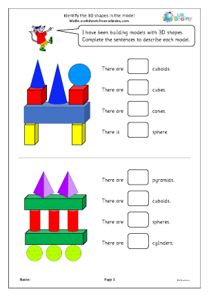Preview of worksheet Identify the 3D shapes in the model