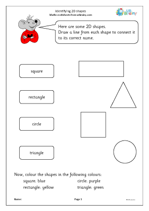 Preview of worksheet Identifying 2D shapes