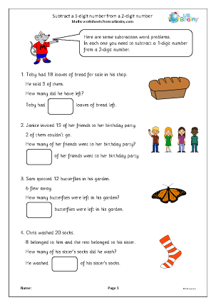 Preview of worksheet Subtract a 1-digit number from a 2-digit number: word problems.