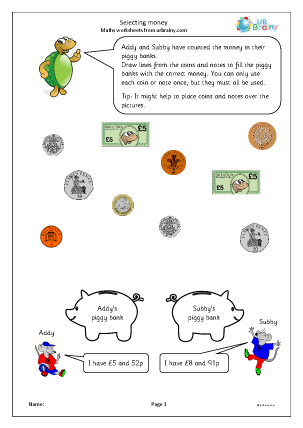 Preview of worksheet Selecting money