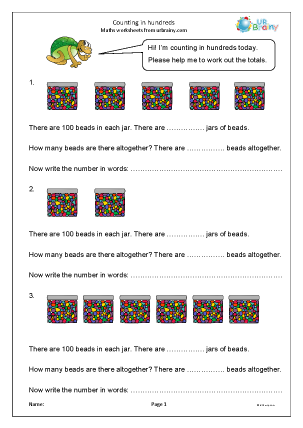 Preview of worksheet Counting in hundreds