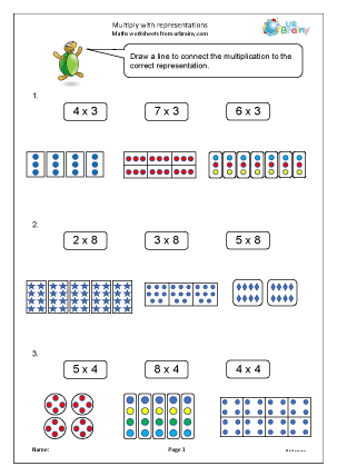 Preview of worksheet Multiply with representations