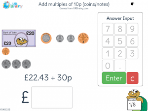 Preview of game Add multiples of 10p (coins/notes)
