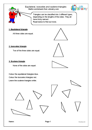 Preview of worksheet Recognising types of triangles