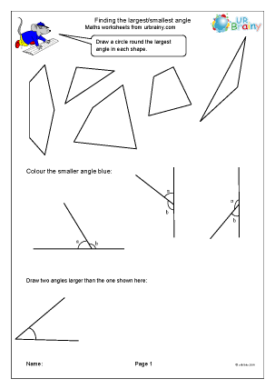 Preview of worksheet Finding the largest or smallest angle