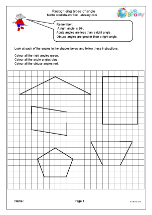 Preview of worksheet Recognising types of angle