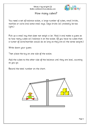 URBrainy Maths Worksheets Year 1 (age 5-6) Measurement Measure weight ...