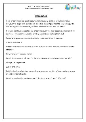 Preview of worksheet Dominoes