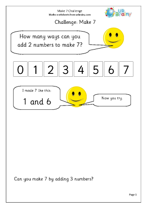 Preview of worksheet Make 7