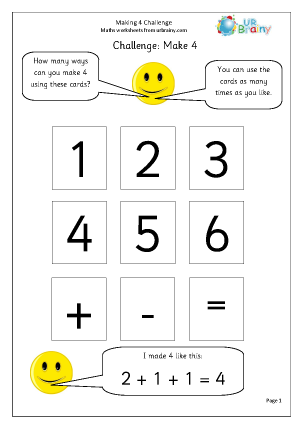 Preview of worksheet Make 4: number sentences