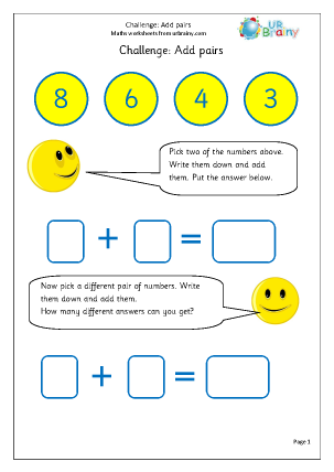 Preview of worksheet Add pairs