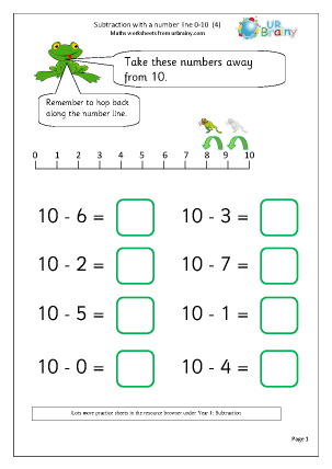 Preview of worksheet Subtraction with a number line (4)