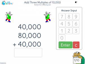 Preview of game Add three multiples of 10,000