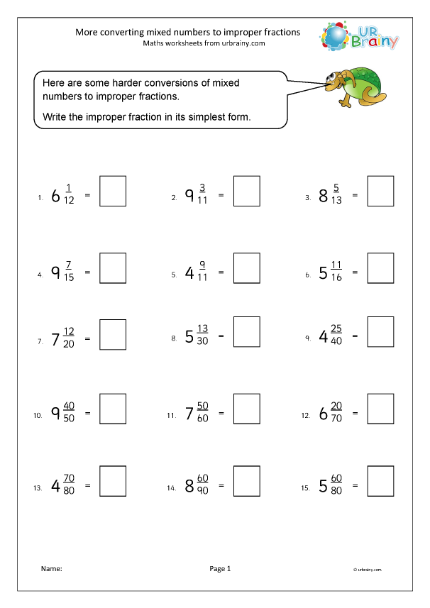 Preview of 'More converting mixed numbers to improper fractions'
