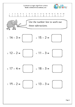 Preview of worksheet Subtract from a teen (1)