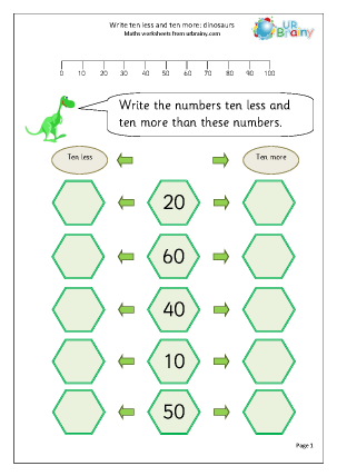 Preview of worksheet Ten less and ten more
