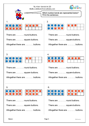 Preview of worksheet Number bonds to 20