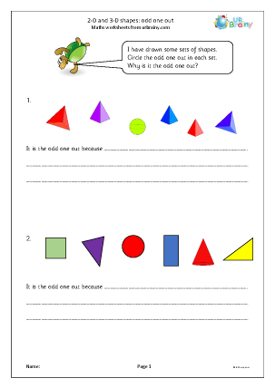 Preview of worksheet 2D  and 3D shapes: odd one out