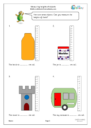Preview of worksheet Measuring heights of objects