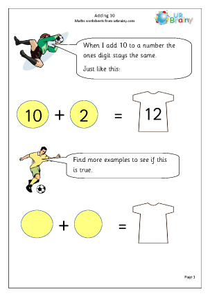 Preview of worksheet Adding ten patterns