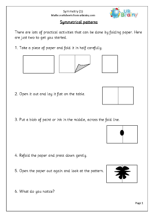 Preview of worksheet Symmetry (1)