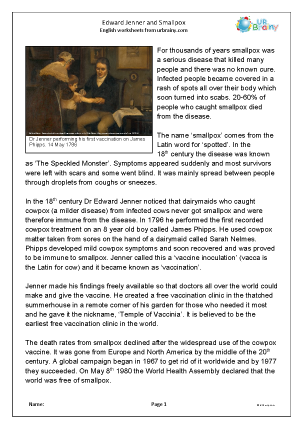 Preview of worksheet Edward Jenner and smallpox
