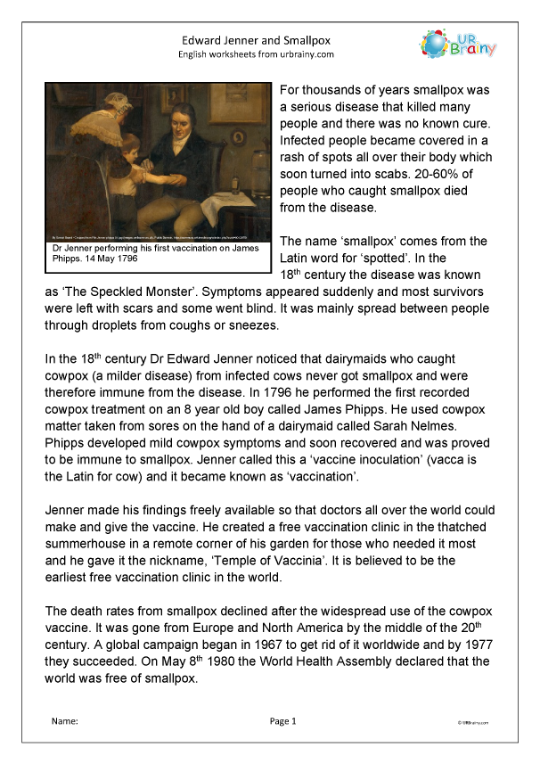 Preview of 'Edward Jenner and smallpox'