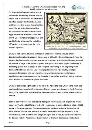 Preview of worksheet Edward Jenner and smallpox (extended version)